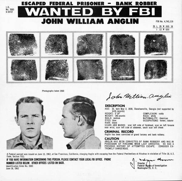 Picture Of FBI Poster Wanted John Anglin